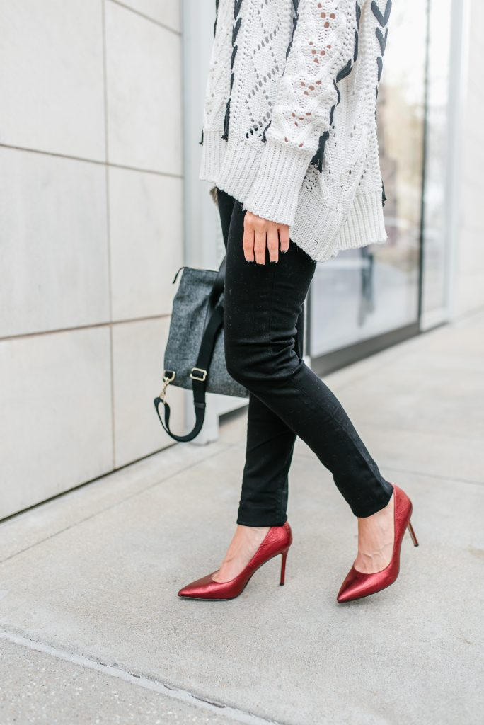 winter outfit | black skinny jeans | red heels | Popular Petite Fashion Blogger Lady in Violet