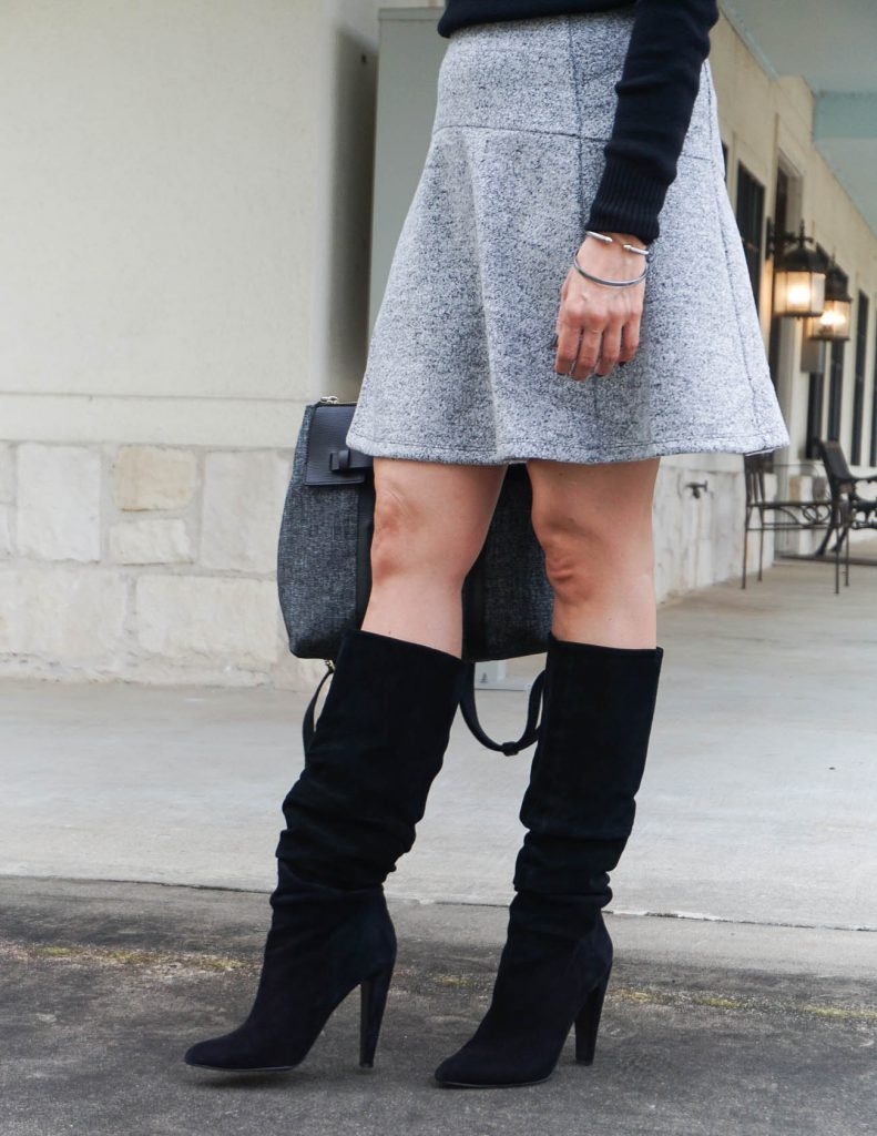 winter outfit | gray skirt | black tall boots | Houston Fashion Blogger Lady in Violet