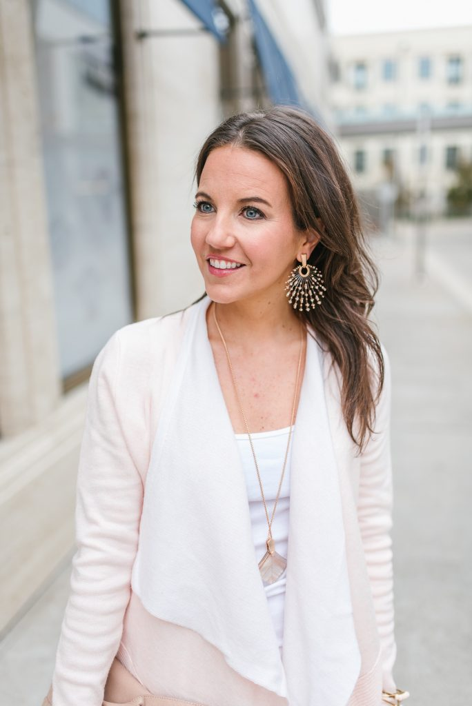 winter outfit | pink cardigan | rose gold earrings | Houston Fashion Blogger Lady in Violet