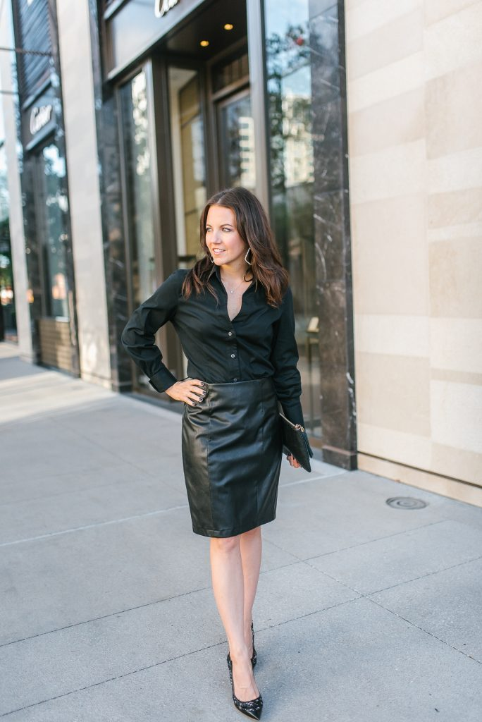 all black work outfit | button up blouse | faux leather pencil skirt | Petite Fashion Blogger Lady in Violet