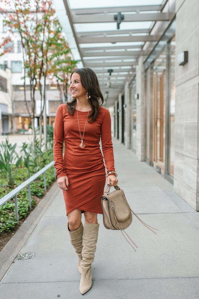 date night outfit | orange fitted dress | tall suede boots | Houston Fashion Blogger Lady in Violet