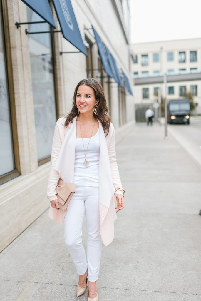 petite outfit idea | blush pink cardigan | white jeans | Popular Houston Fashion Blogger Lady in Violet