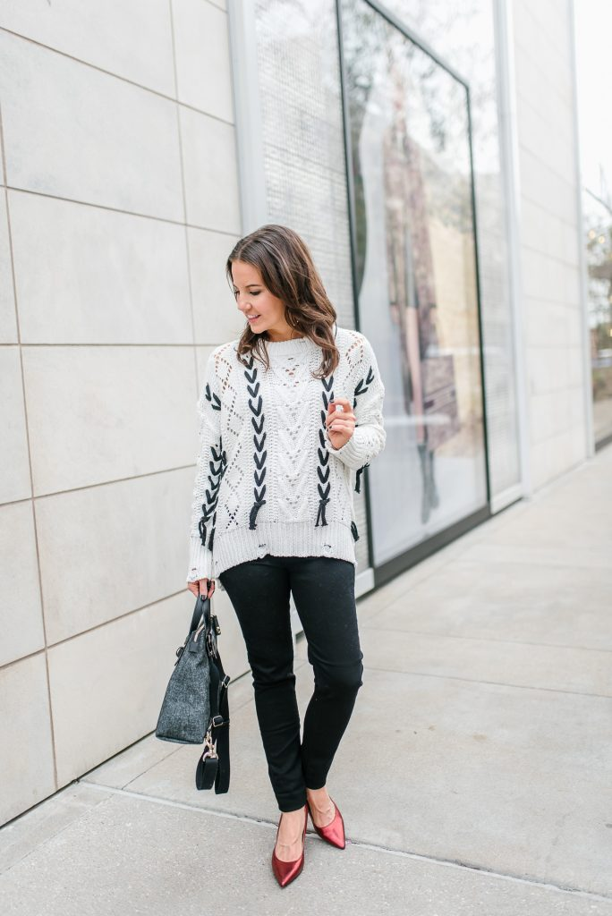 winter outfit | white open knit sweater | red heels | Houston Fashion Blogger Lady in Violet