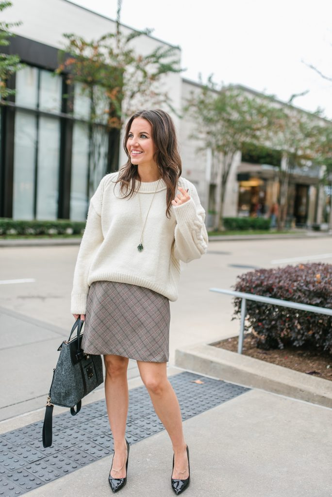 winter workwear | oversized sweater | plaid skirt | Houston Fashion Blogger Lady in Violet