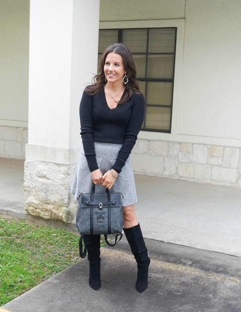 work outfit   black fitted sweater   light gray skirt   Petite Fashion Blogger Lady in Violet