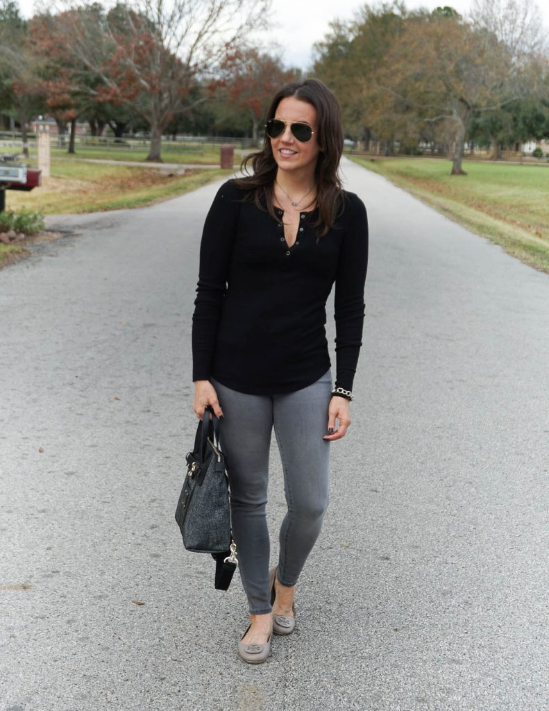 casual winter basics | black thermal tee | gray skinny jeans | Houston Fashion Blogger Lady in Violet