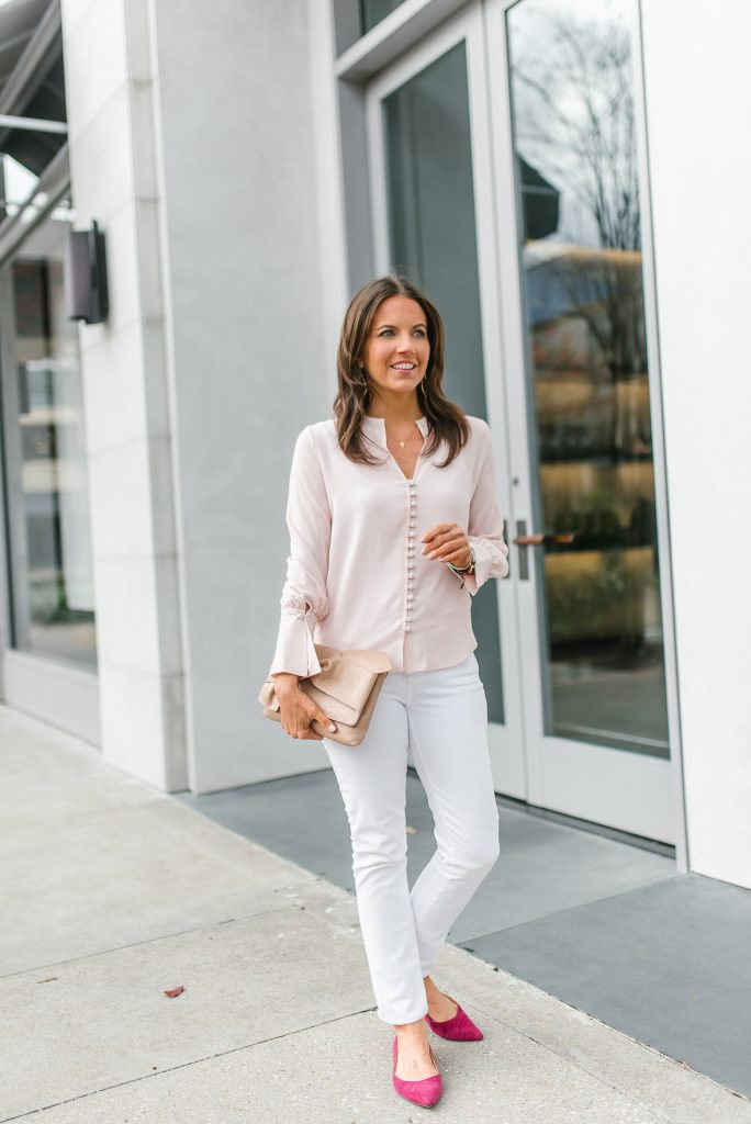 casual valentines day outfit | blush pink blouse | white jeans | Houston Fashion Blogger Lady in Violet