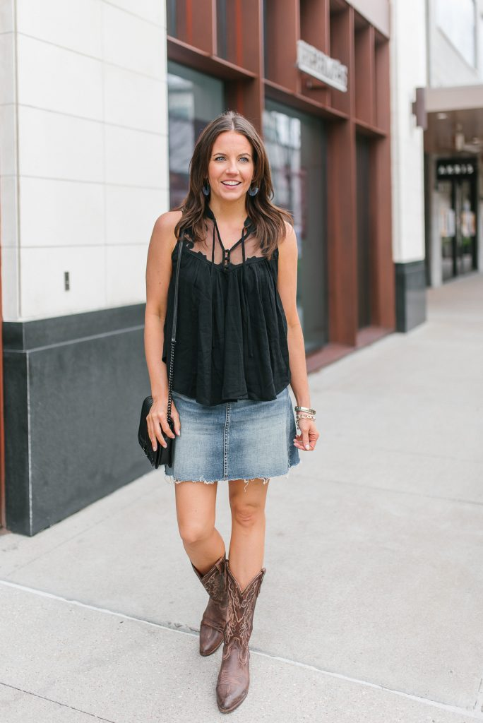 rodeo outfit | denim skirt | black crop top | Houston Fashion Blogger Lady in Violet