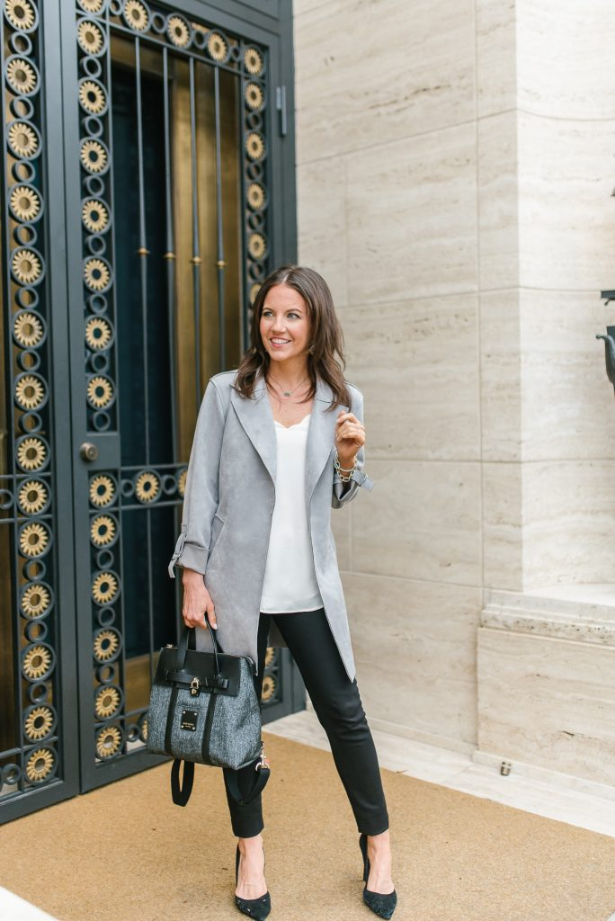 spring outfit | light gray suede long jacket | black jeans | Popular Houston Fashion Blogger Lady in Violet