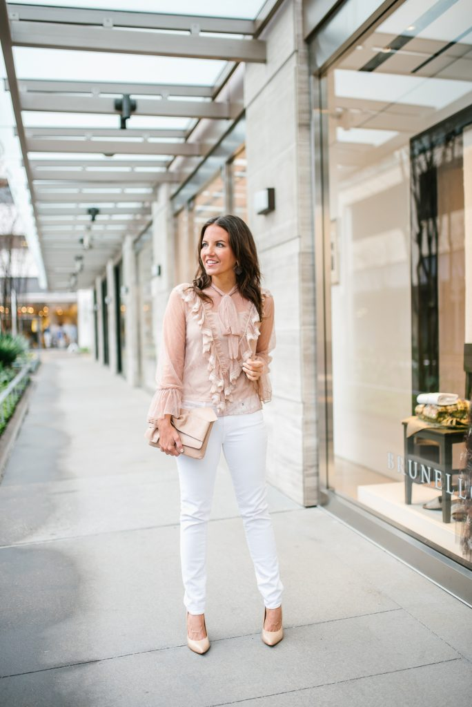 spring outfit | sheer top | white skinny jeans | Houston Blogger Lady in Violet
