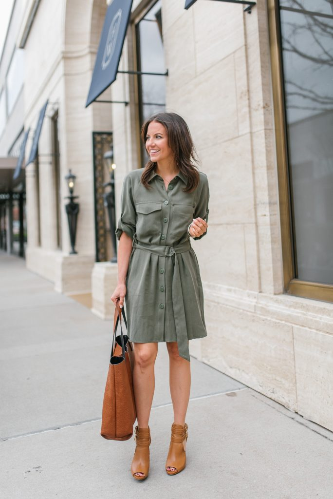 spring work dress under 100 | brown peep toe booties | Houston Fashion Blogger Lady in Violet