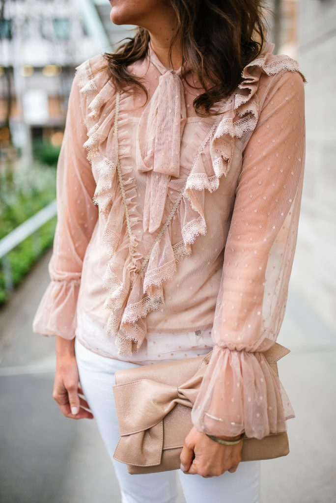 sheer top trend | ruffle blouse | spring outfit | Houston Blogger Lady in Violet