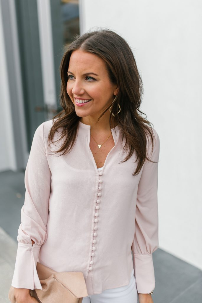 Spring outfit | blush pink button up top | gold jewelry | Popular Houston Fashion Blogger Lady in Violet