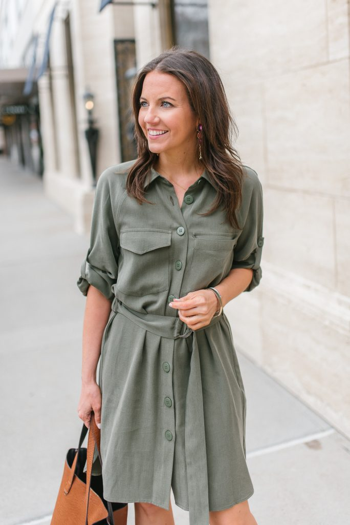 spring workwear | olive shirtdress | Popular Houston Fashion Blogger Lady in Violet