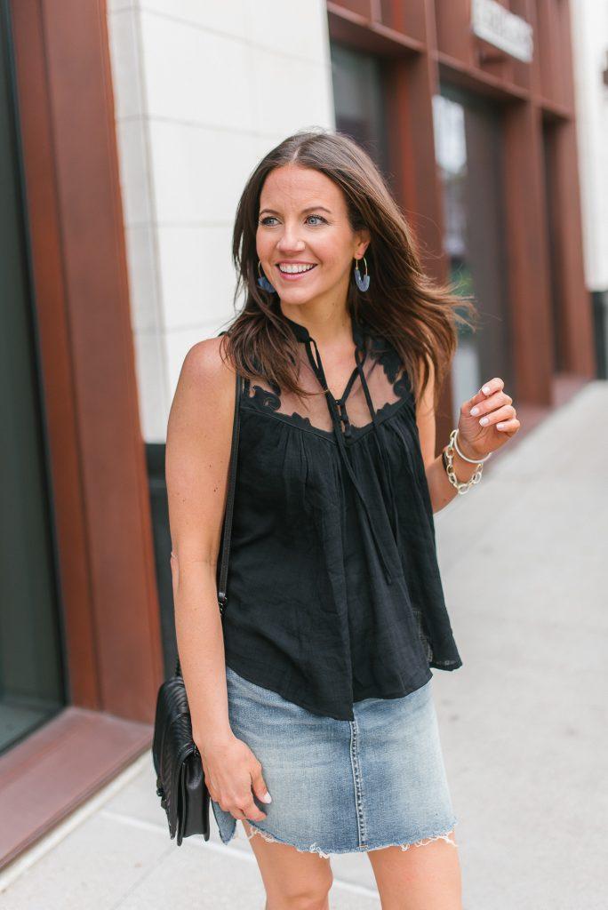what to wear to the rodeo   denim skirt   blue statement earrings   Popular Houston Fashion Blogger Karen Kocich