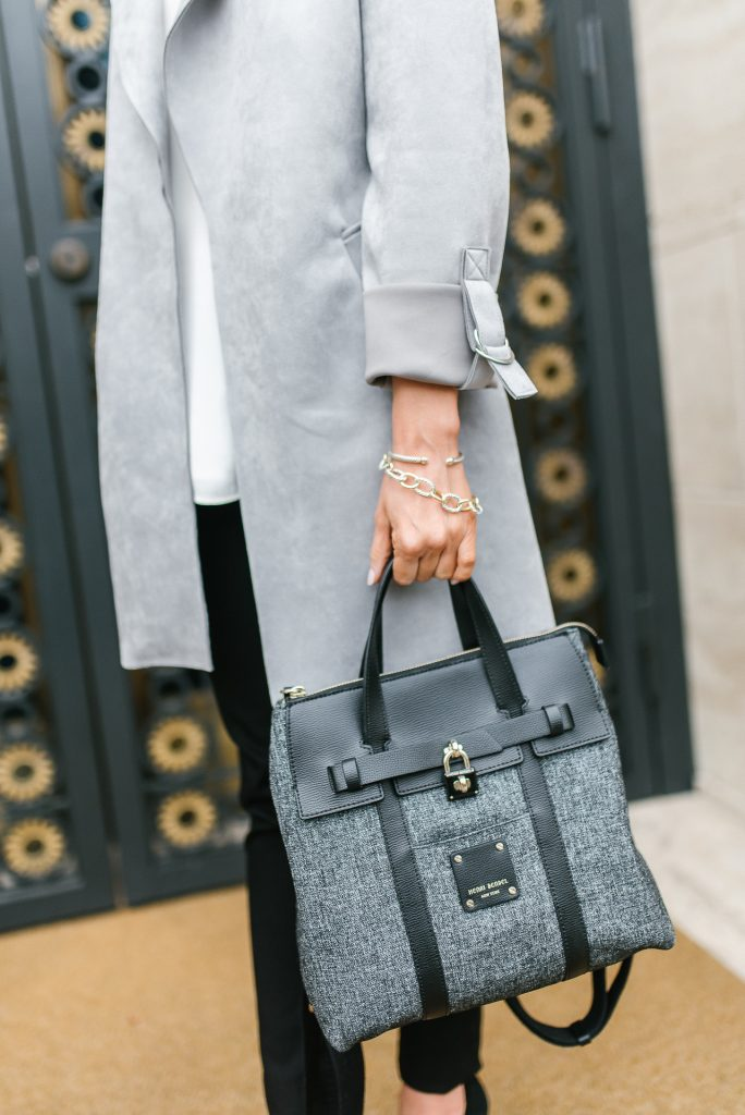 casual spring outfit | gray jacket | henri bendel mini jetsetter bag | Houston Fashion Blogger Lady in Violet