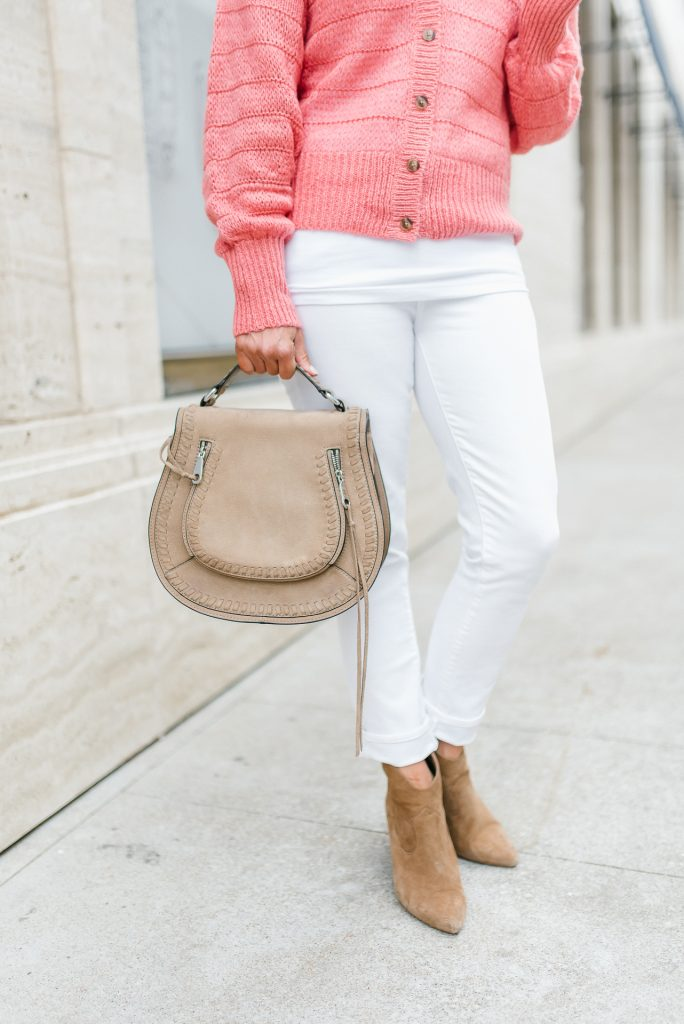 spring casual outfit | white jeans | brown booties | Popular Petite Fashion Blogger Lady in Violet