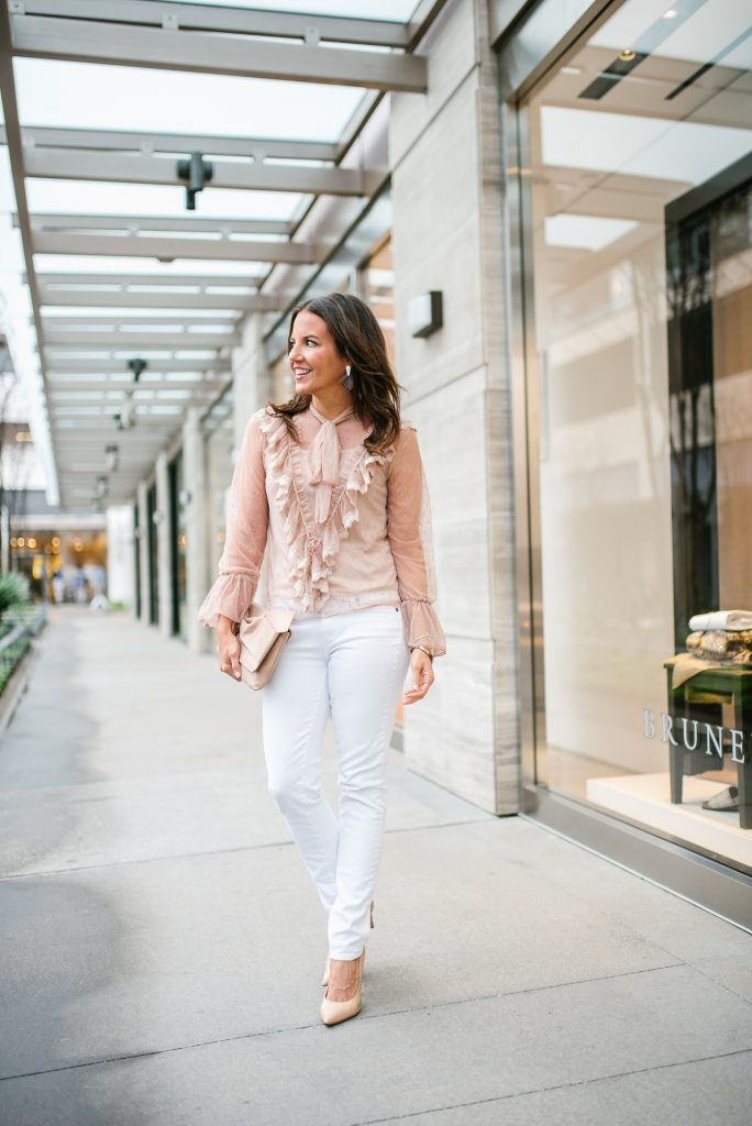 casual outfit | tan sheer top with ruffles | white jeans | Petite Fashion Blogger Lady in Violet