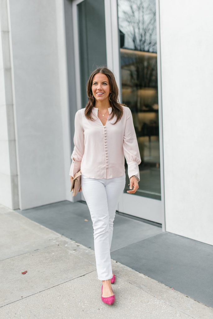 Spring outfit | light pink top | white denim | Houston Fashion Blogger Lady in Violet