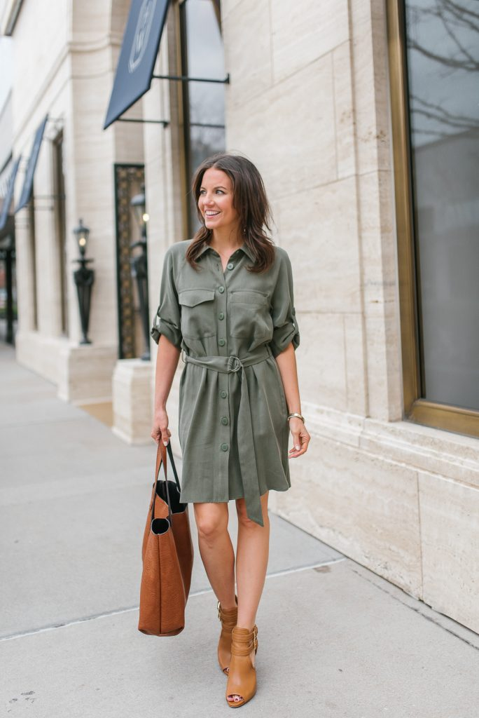 spring work style | utility shirtdress | brown booties | Popular Petite Fashion Blogger Lady in Violet