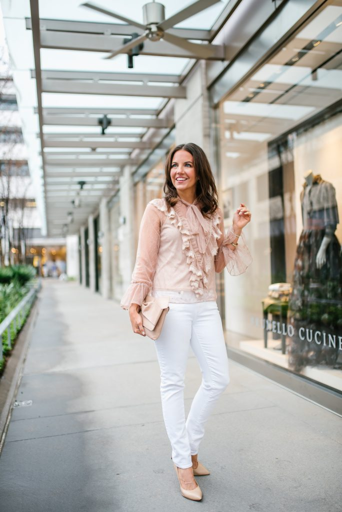 casual easter outfit | sheer top with ruffles | white denim | Houston Fashion Blogger Lady in Violet