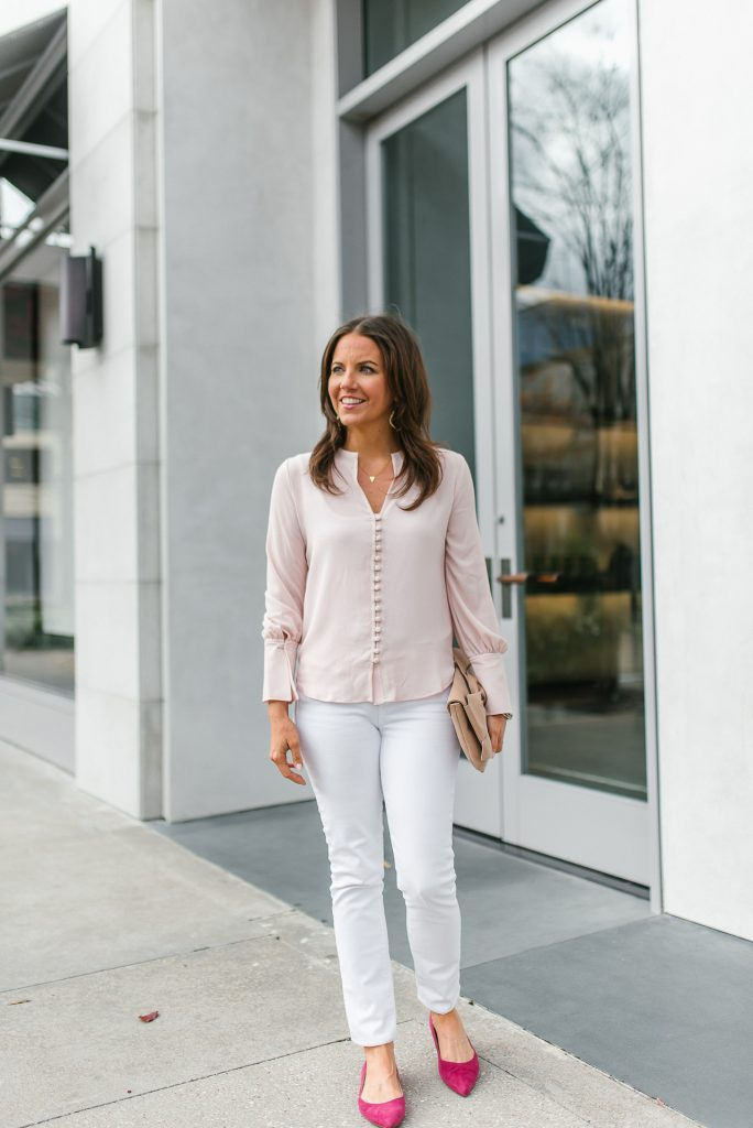 casual valentines day outfit | blush pink top | white jeans | Popular Petite Fashion Blogger Lady in Violet