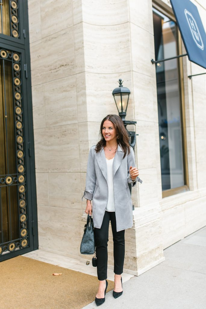 fall outfit | gray long jacket | black skinny jeans | Houston Fashion Blogger Lady in Violet