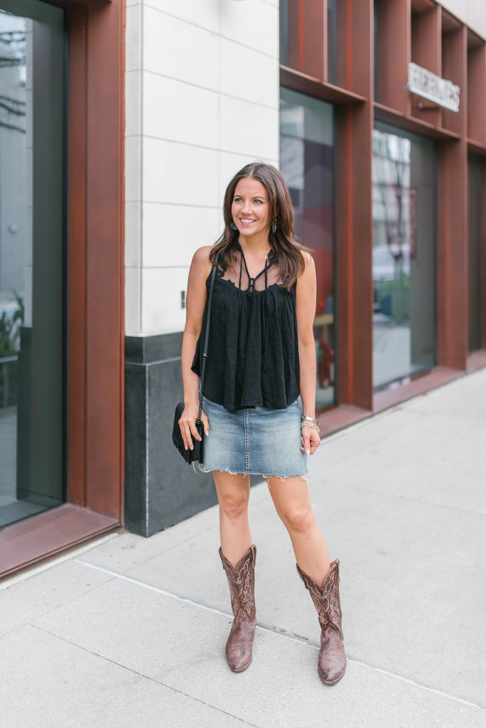 rodeo outfit | black sleeveless top | denim skirt | Houston Fashion Blogger Lady in Violet