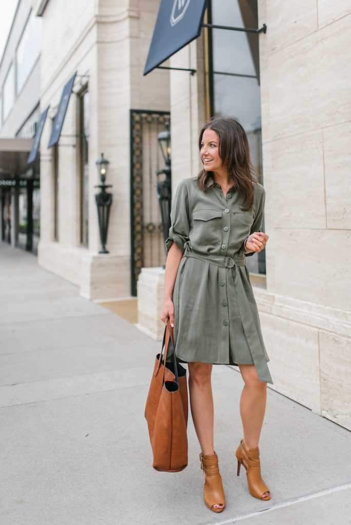 spring work outfit | green shirtdress | brown tote bag | Houston Fashion Blogger Lady in Violet