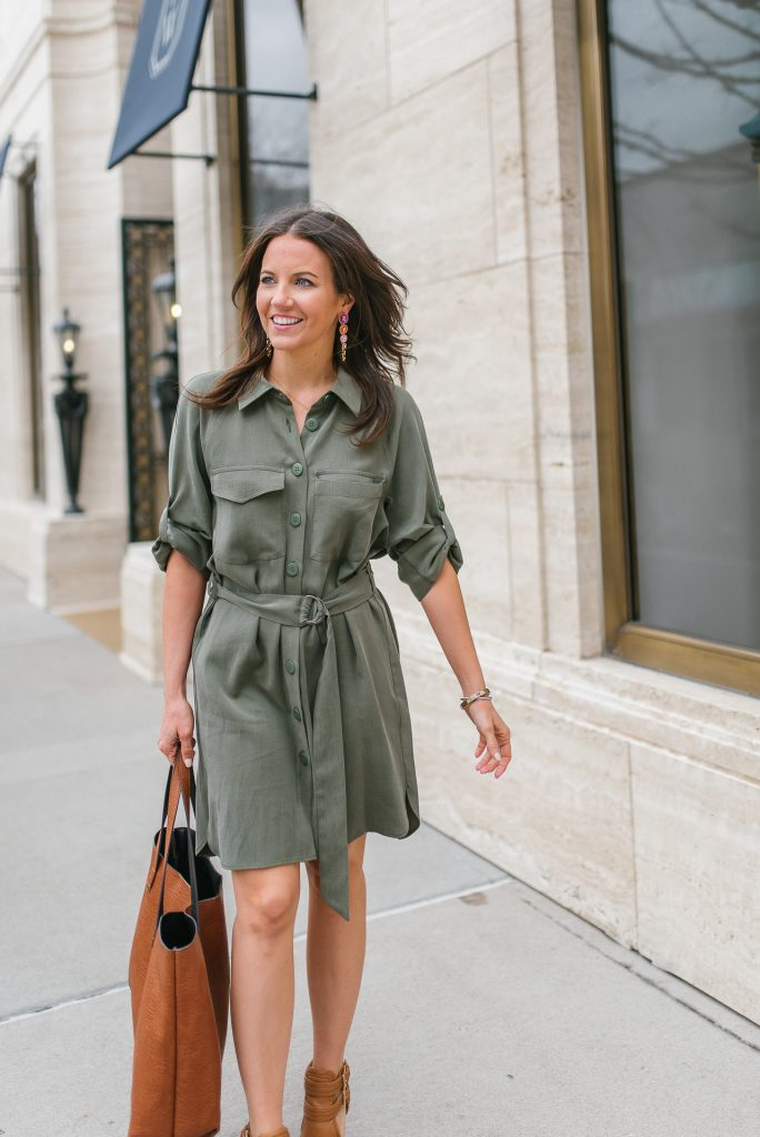 Petite workwear | utility shirtdress | brown heels | Popular Houston Fashion Blogger Karen Kocich
