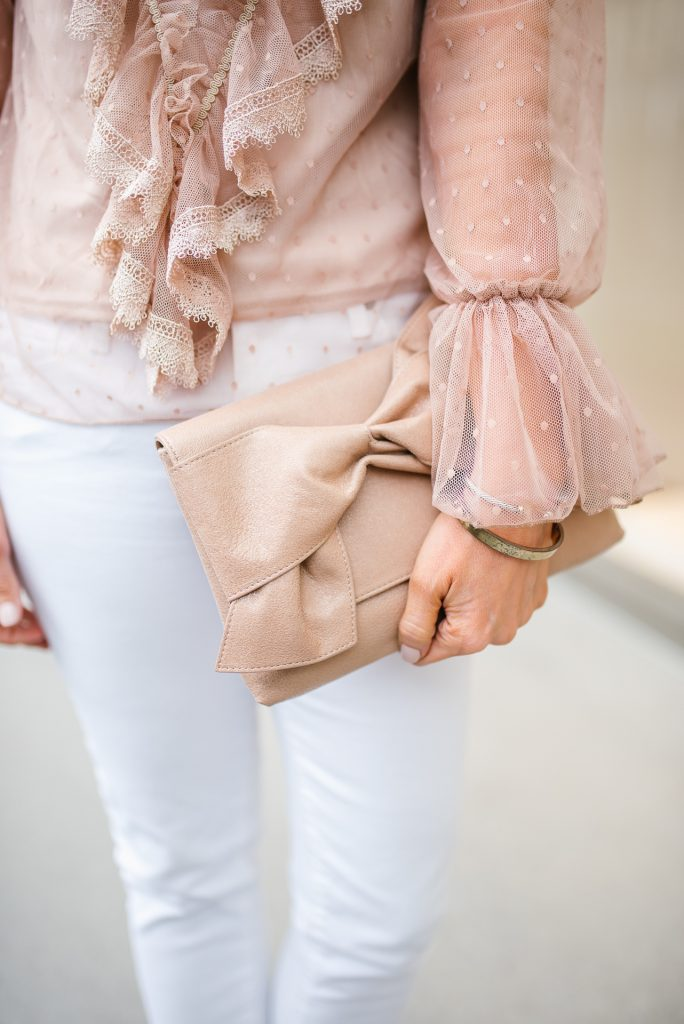 spring fashion | ruffle top | neutral clutch | Houston Fashion Blogger Lady in Violet
