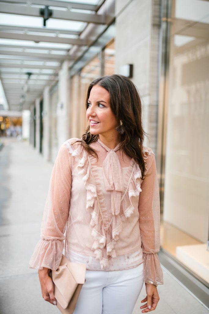 Casual spring outfit | ruffle sheer top trend | Houston Fashion Blogger Lady in Violet