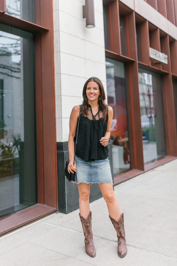 houston rodeo cookoff outfit   denim skirt   cowboy boots   Petite Fashion Blogger Lady in Violet