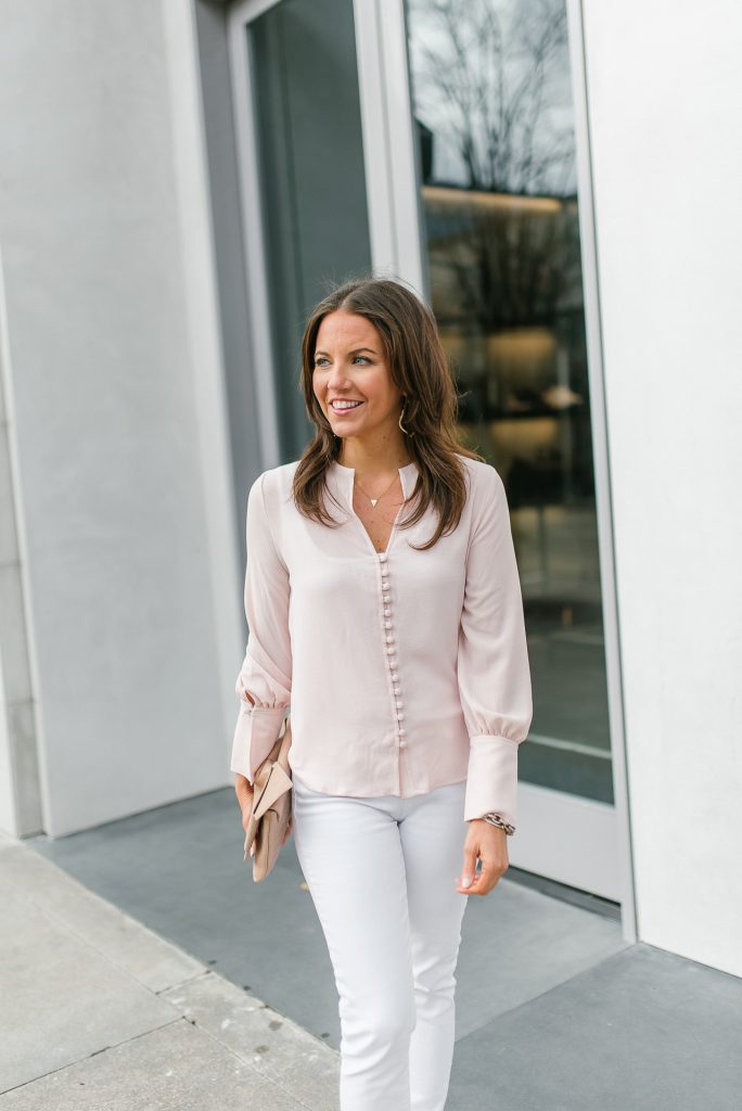 spring fashion | light pink blouse | white jeans | Petite Fashion Blogger Lady in Violet