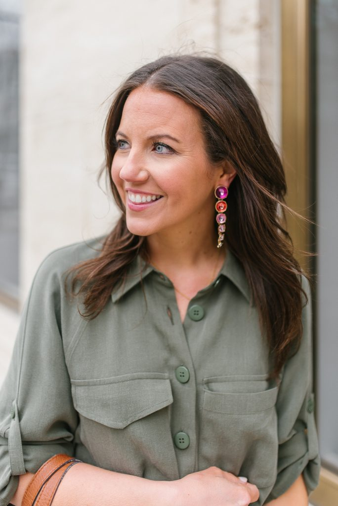 spring fashion | pink ombre statement earrings | olive dress | Houston Fashion Blogger Lady in Violet