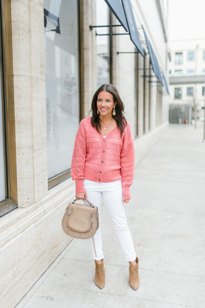spring outfit | coral cardigan | brown booties | Houston Fashion Blogger Lady in Violet