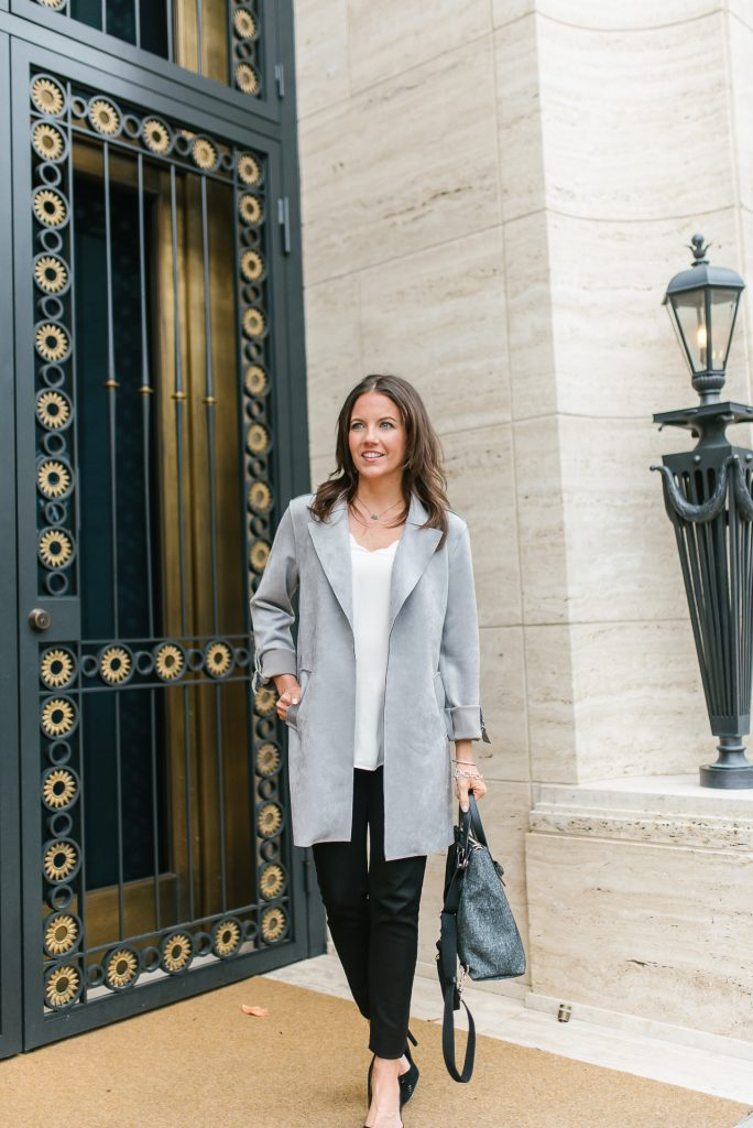 Spring outfit | long gray jacket | black denim | Petite Fashion Blogger Lady in Violet