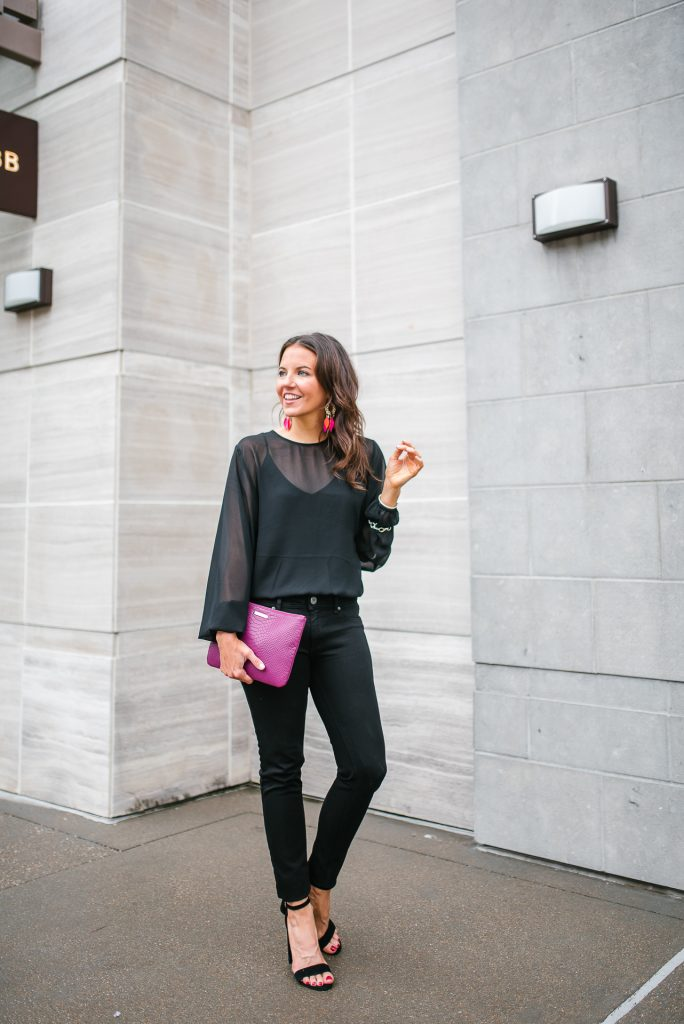 Fall outfit | long sleeve black bodysuit | block heel sandals | Petite Fashion Blogger Lady in Violet