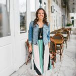 Pleated Midi Skirt + Denim Jacket