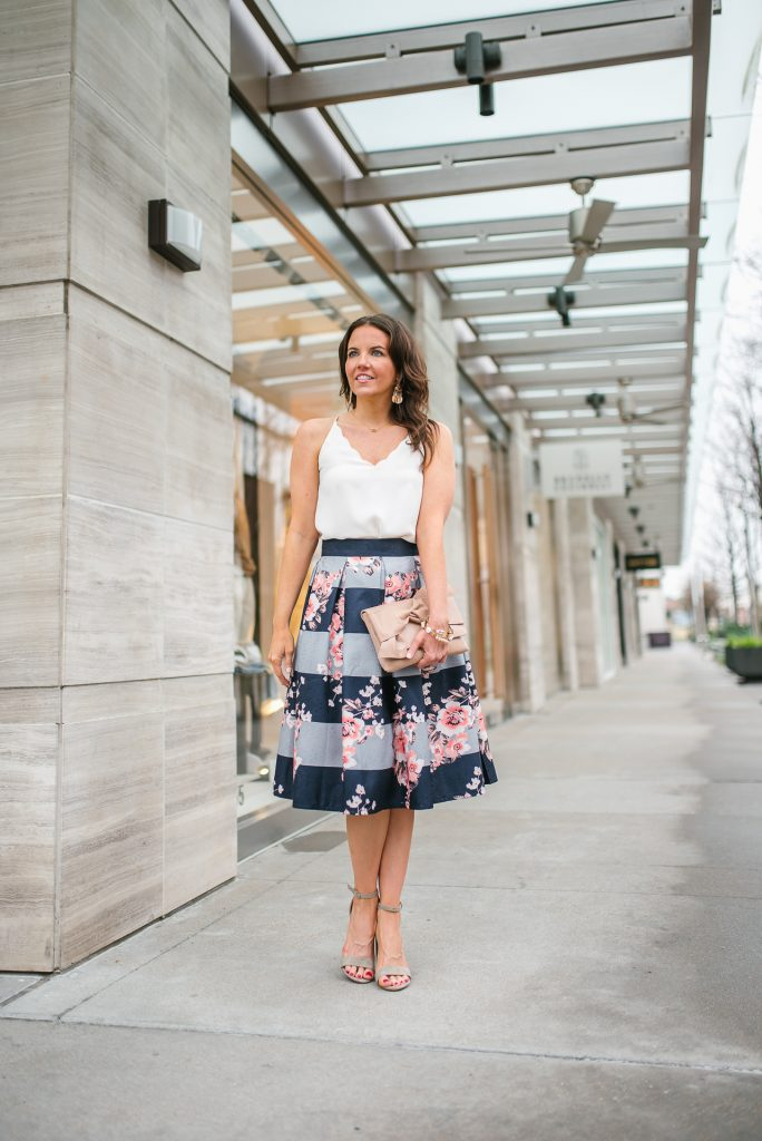spring outfit | floral midi skirt | scalloped cami | Petite Fashion Blogger Lady in Violet