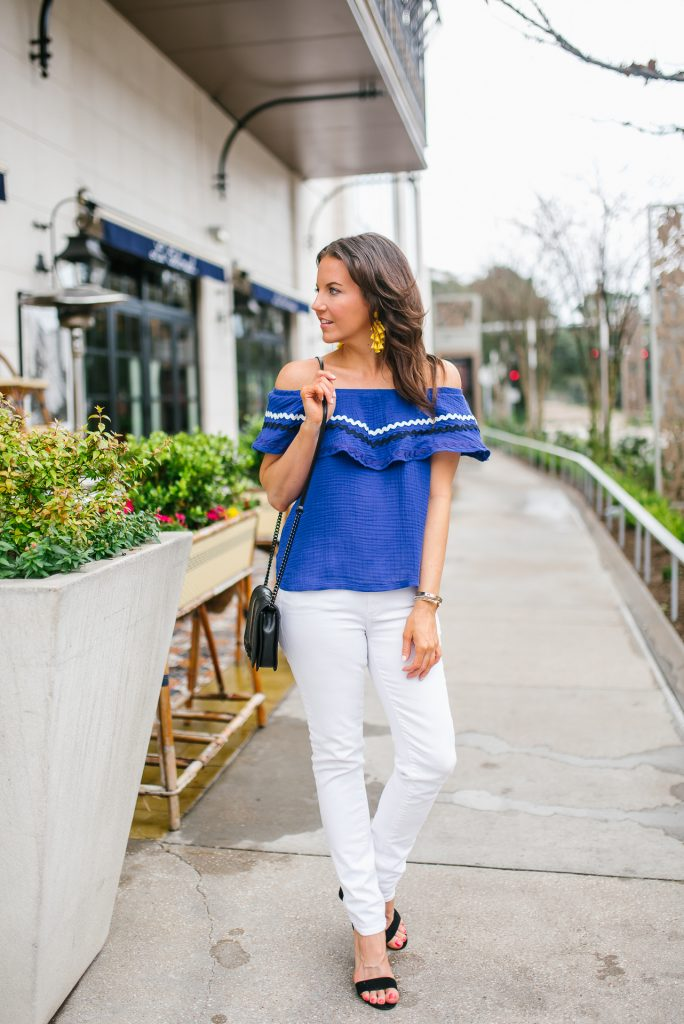 Summer outfit   blue off the shoulder top   white skinny jeans   Petite Fashion Blogger Lady in Violet