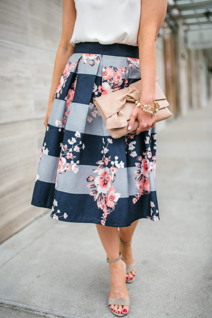 easter outfit | floral midi skirt | nude colored clutch | Petite Fashion Blogger Lady in Violet