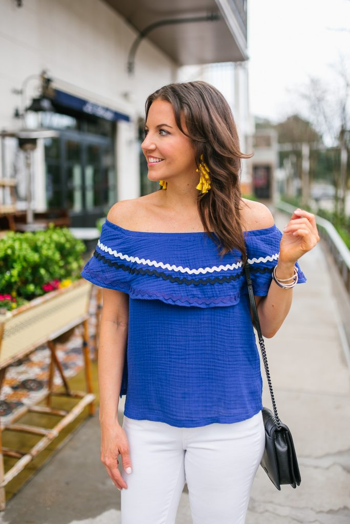 spring outfit   blue rickrack off the shoulder top   yellow statement earrings   Houston Fashion Blogger Karen Kocich