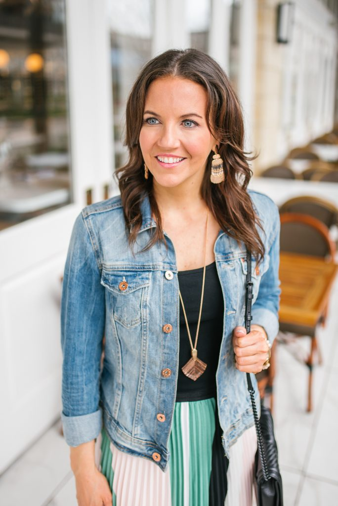 spring workwear | denim jacket | rose gold jewelry | Houston Fashion Blogger Karen Kocich