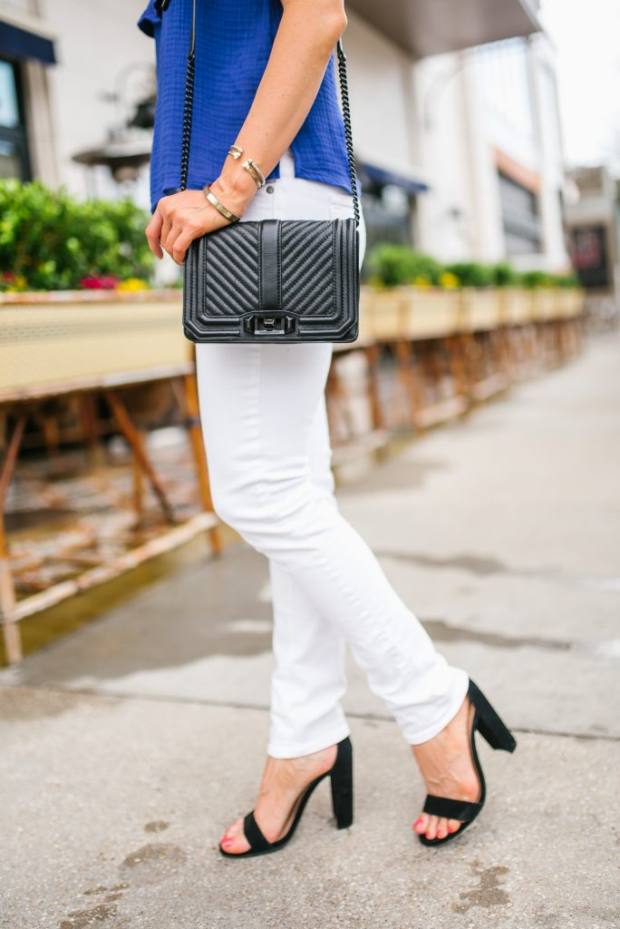 casual spring outfit | white skinny jeans | black block heel sandals | Petite Fashion Blogger Lady in Violet