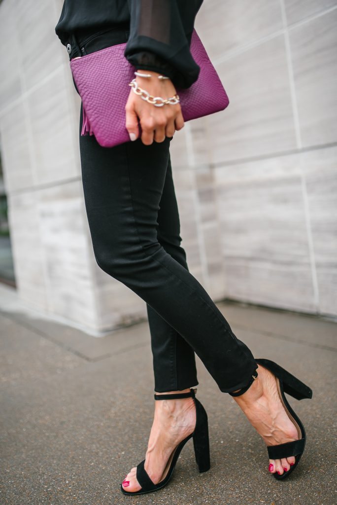 spring outfit | black skinny jeans | steve madden block heel sandals | Petite Fashion Blog Lady in Violet