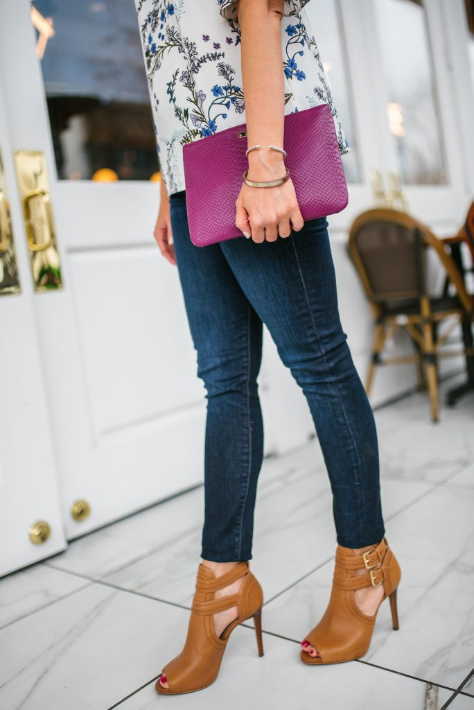 spring outfit idea | dark blue skinny jeans | peep toe booties | Petite Fashion Blogger Lady in Violet