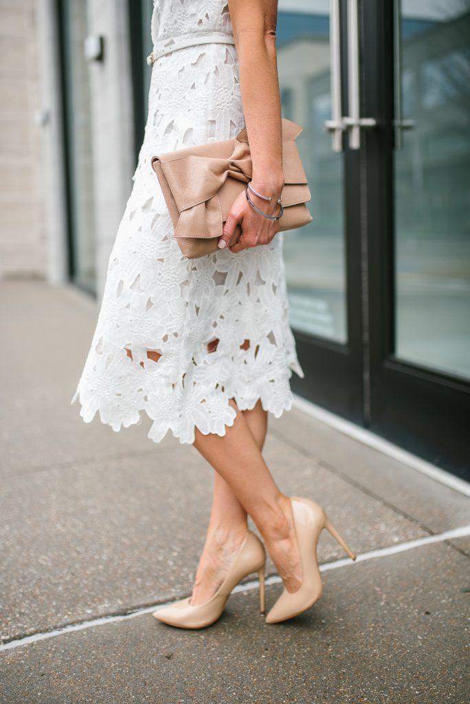 white lace dress | spring outfit | nude colored heels | Petite Fashion Blogger Lady in Violet