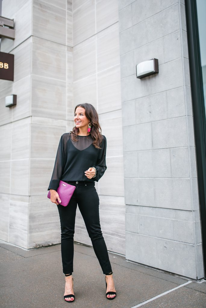 casual outfit | long sleeve chiffon bodysuit | black skinny jeans | Houston Fashion Blogger Lady in Violet