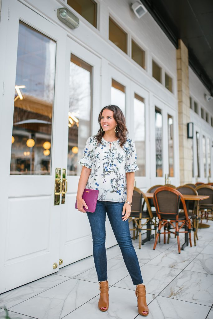 Casual outfit | white floral top | brown peep toe booties | Petite Fashion Blogger Lady in Violet